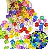 Liuer 250PCS Piedras Preciosas Juguete de Diamantes Acrílico para Decoración Tanque de Peces de Acuario Rellenar jarrones,decoración para el hogar y Fiestas,decoración de Mesa(25mm,Piedras Luminosas)