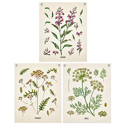Pack of 3 Wildflower Tapestry Plants Tapestry, Leaves Tapestry Vintage Botanical Flower Tapestries Floral Tapestry Wall Hanging with 6 Nails for Room(15.7 x 19.7 inches)