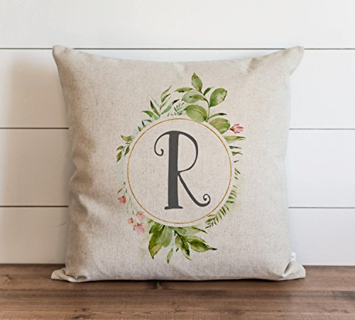 Floral Monogram Pillow Cover Everyday Throw Pillow Gift Accent Pillow Cushion Cover Case Pillowcase with Hidden Zipper Closure for Sofa Bench Bed Home Decor 20 x 20 Inches
