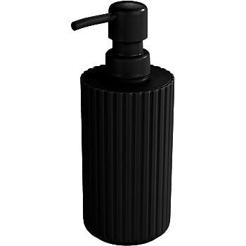 iDesign Dispensador de jab/ón negro bote dosificador recargable para jab/ón o loci/ón de 355 ml de capacidad dosificador de jab/ón redondo en pl/ástico para ba/ño o cocina