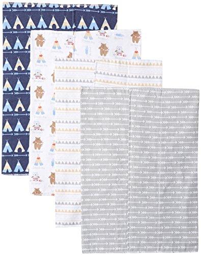 Luvable Friends Unisex Baby Cotton Flannel Burp Cloths, Tribe, One Size