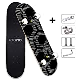 Scientoy Skateboard, Beginner Skateboards, 31' x 8' Complete Pro Skateboard with Repair Kit for Kids/Boys/Girls/Youth/Adults, 9 Layer Canadian Maple Double Kick Skateboard for Extreme Sports and Outdoors