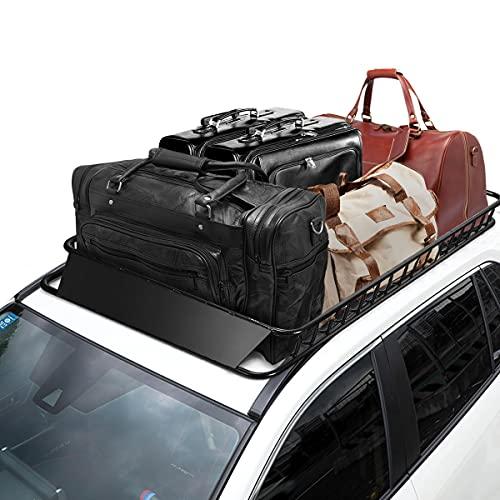 COSTWAY Portapacchi da Auto Cestello Portatutto Universale, Portabagagli in Acciaio 162cm, Capacità di Carico 113kg