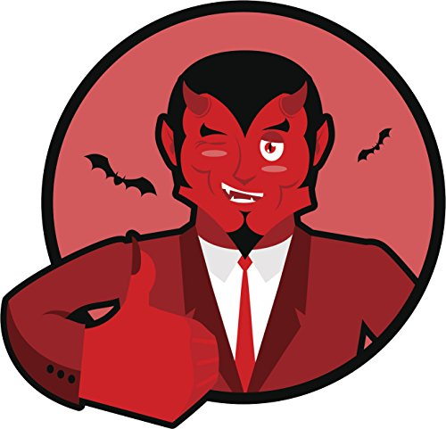 Satan Approves Thumbs Up Cartoon Icon Vinyl Decal Sticker (4' Wide)