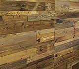 Holz Wandverkleidung mit 3d Paneelen aus verwittertem und recyceltem alten Holz von Nordje