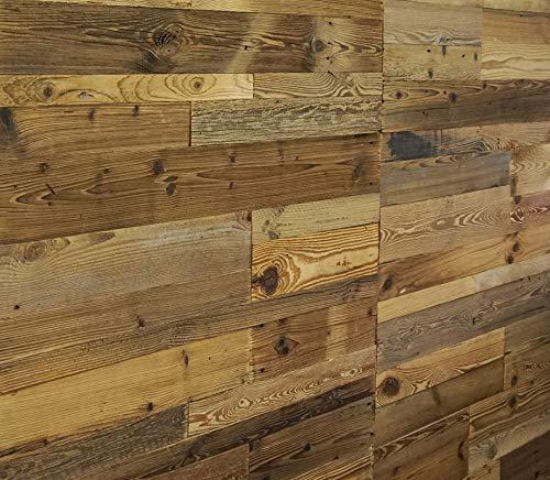 Holz Wandverkleidung mit 3d Paneelen aus verwittertem und recyceltem alten Holz von Nordje®