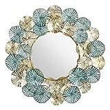 baroni home specchio da parete decorativo con cornice in ferro, specchio da salotto o camera da letto, cerchi oro e turchese 81x6x81 cm