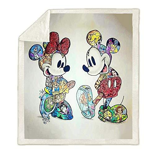 SK-YBB Cartoon Decken für Kinderbetten Erwachsene Disney Mickey Minnie, Sofadecke, Fleecedecke, Kuscheldecke Wärme und Isolierung (Mickey12,150 * 200cm)