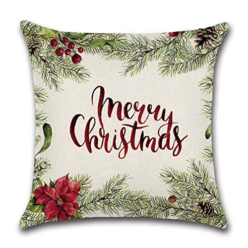 FZC-YM Chrismas Throw Pillow Covers, Soft Velvet Cushion Covers Throw Pillow Case Cushion Cover Chrismas Wreath Stocking Decorative Pillowcase for Sofa Bedroom Living Decoration
