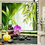 Elloevn Zen Bambus Pebble Duschvorhang, Antischimmel Textil Badezimmer Duschvorhänge für Kinder, Harmonisch Grün Duschvorhang mit 12 Ringen, Leicht zu pflegen Shower Curtain, 175x178 cm