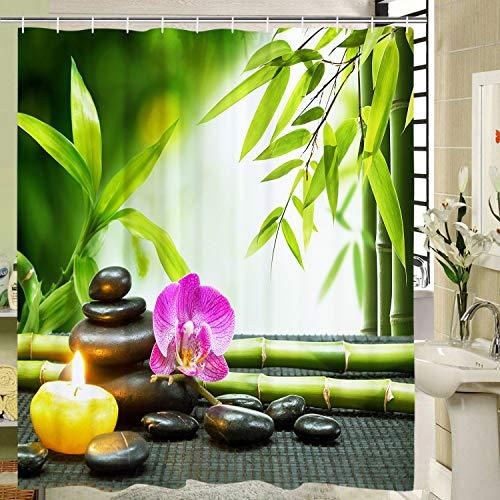 Elloevn Zen Bambus Pebble Duschvorhang, Antischimmel Textil Badezimmer Duschvorhänge für Kinder, Harmonisch Grün Duschvorhang mit 12 Ringen, Pflegeleicht Shower Curtain, 175x178 cm
