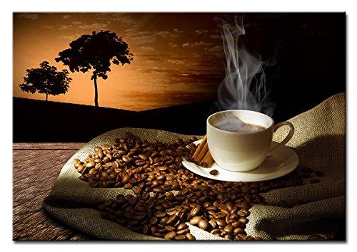 Berger Designs - Bild auf Leinwand als Kunstdruck in verschiedenen Größen. Modernes Küchenbild Kaffee. Beste Qualität aus Deutschland (90 x 70 cm (BxH))