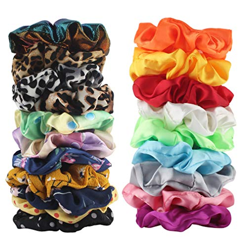Scrunchies Elastic Colorful Chiffon Hair Bobbles for Thick Hair - Soft Stretchy Hair Ties Ponytail Holder for Women Girls Hair Styling Accessories (20