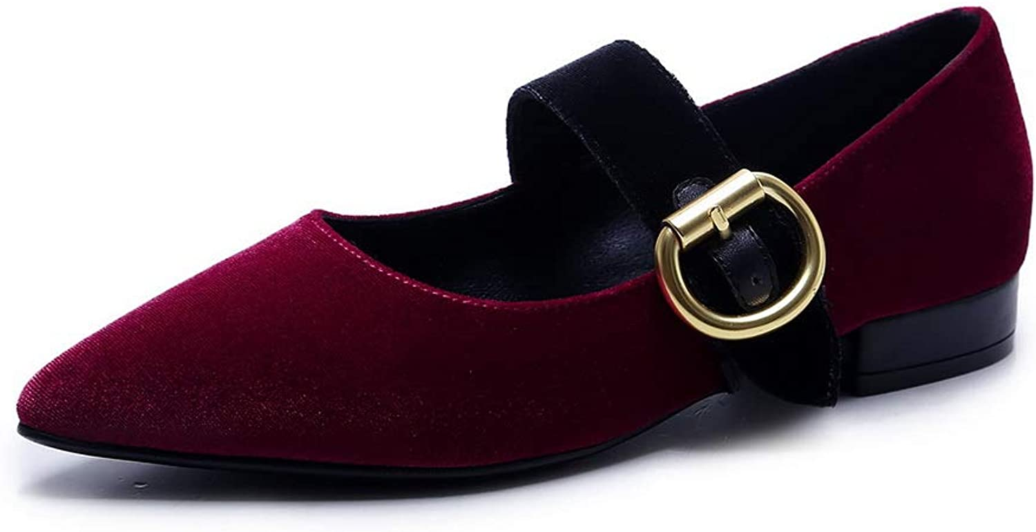 AN Womens Pointed-Toe Assorted colors Metal Buckles Imitated Suede Pumps shoes DGU00763