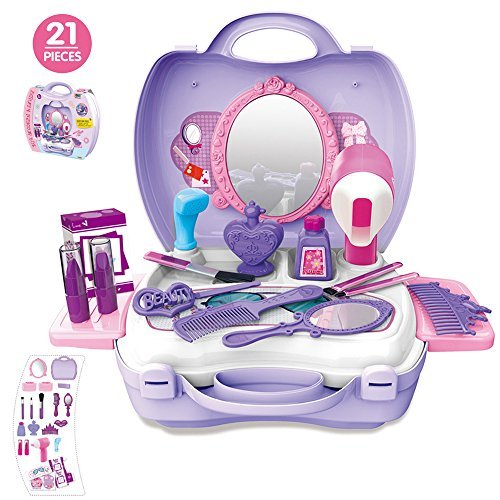 21Pcs Pretend Makeup Kit for Girls Cosmetic Pretend Play Dress-up Beauty Salon Toy Set with Mirror Best Gift for Kids