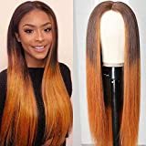 UNice 10A Silk Base Fake Scalp Ombre Lace Closure Wigs Straight Hair Wig Middle Part, Brazilian Human Hair T-Part Lace Closure Wig Pre Plucked with Baby Hair for Women T4/30 Color 150% Density 18inch