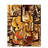 DIY Pintura por Números Adultos Niños Violín de instrumento musical abstracto Pintar por Numeros con Pinceles y Pinturas para la decoración del hogar 40x50cm con Marco
