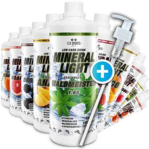 C.P. Sports Mineral Light Getränke Sirup Electrolyte Konzentrat 1 Liter inkl. DOSIERSPENDER (Kokos-Ananas)