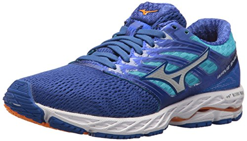 Mizuno Running Women's Wave Shadow Shoes, dazzling blue/white, 6.5 B US