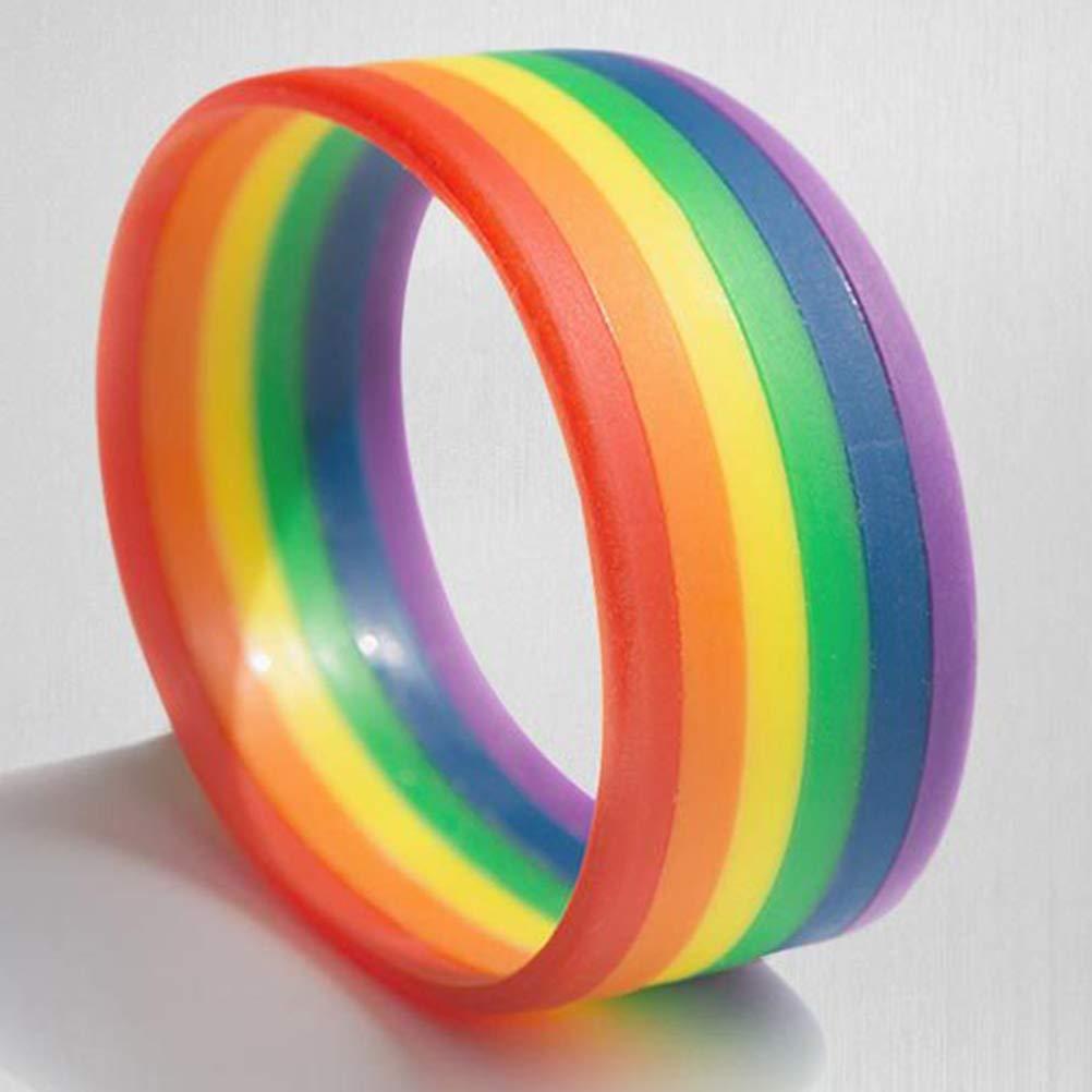 Amosfun Pulsera LGBT Rainbow Pride Pulseras de Silicona Pulsera Orgullo Gay y Lésbica Pulseras de Goma Deporte Moda Pulsera única: Amazon.es: Juguetes y juegos
