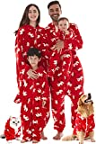 Family Christmas Pajamas Set for Pets, Hooded Dogs Cats Onesie Pajamas Outfit Red Christmas Deer Small