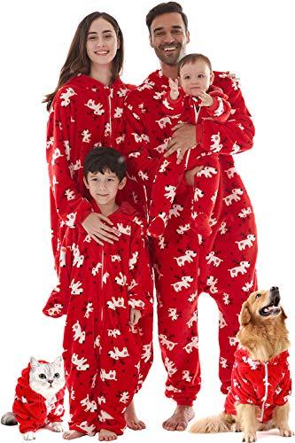 INFLATION Familie Pyjama Set kuschelige Schlafoverall Nachtwäsche Flanell Onesie mit Kapuze für Herbst Winter Weihnachtshirsch Rot Damen M
