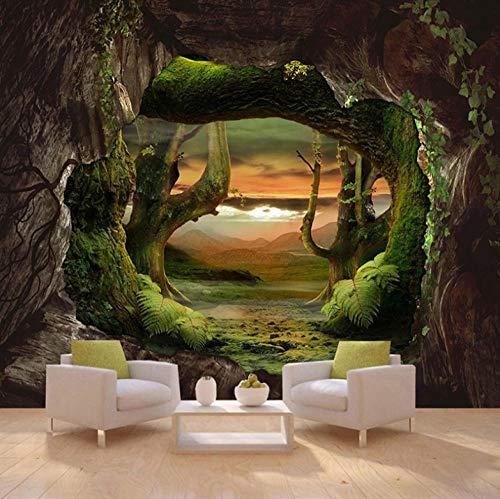 Fotobehang met 3D-effect, behang, modern, reusachtige afbeelding, woonkamer, slaapkamer, tienerkamer, decoratie, Hd-canvas, holstenen muur oerwoud 200x150cm
