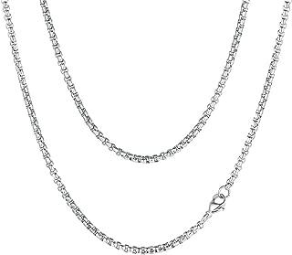 3/6MM Cadena Dudadera de Eslabones Cuadrados Flat Box Chain Acero Inoxidable Collar Básico Personalizable para Hombres y Mujeres Joyería Simple