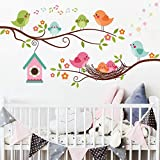 ROFARSO Colorful Cute Cartoon Lovely Birds Singing On The Branch with Flowers Wall Stickers for Kids Removable Wall Decals DIY Decorations for Nursery Baby Boys Girls Bedroom Playroom Living Room…