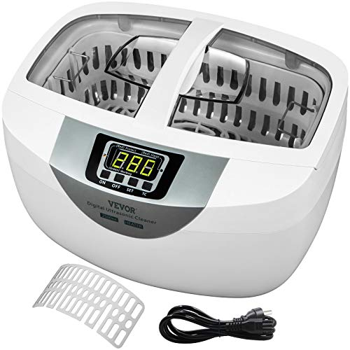 VEVOR Ultrasonic Cleaner 2.5L Ultrasonic Jewelry Cleaner 40kHz Ultrasonic Jewelry Cleaner Machine ABS Plastic & 304 Stainless Steel Sonic Cleaner with Heater & Timer for Fruits Jewelry Glasses Watches