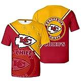 Xiaolimou Hommes T-Shirt NFL 2021 Kansas City Chiefs Fans Rugby Chemises Confortable Maillots Uniforme Top Brodés XXS-4XL, Confortable Et Respirant, Lavable en Machine,S