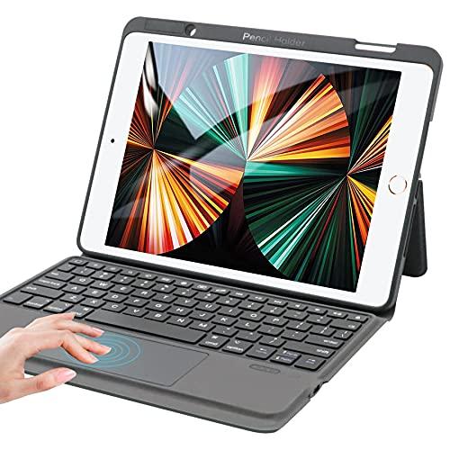 iPad第8世代キーボードケース タッチパッド搭載 iPad 10.2 10.5 ケースキーボード 一体式 iPadカバーキーボード ipad 10.2 ipad air3 ipad pro 10.5対応 apple pencilホルダー付き 日本語取扱説明書付き(ブラック)