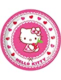 Pack 8 Platos Papel 23 Cm. Hello Kitty Hearts