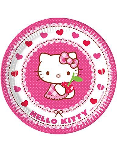 Pack 8 Platos Papel 23 Cm. Hello Kitty Hearts