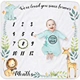 Yoothy Safari Baby Monthly Milestone Blanket for Boy and Girl, Gift for Baby Shower, Baby Photo Blanket for Pictures, Wreath &12 Stickers Included, Soft Flannel Blanket, Elephant, Lion 40''x 40''