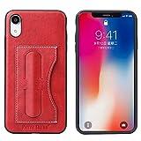 KIOKIOIPO-N Mode Fierre Shann Volle Deckung Schutzmaßnahmen Ledertasche for iPhone XR, mit Halter & Karten-Slot (Color : Rot)
