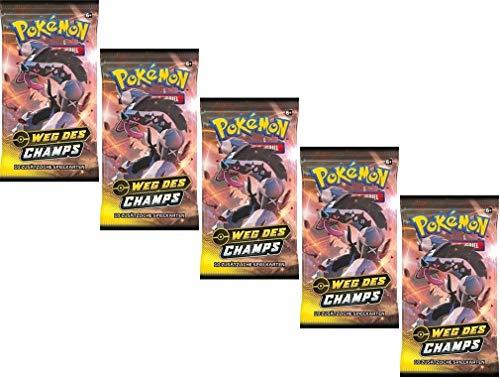 Pokemon 5 Booster Weg des Champs Sammelkarten | DEUTSCH | Schwert & Schild 3.5 Karten Serie | + 100 Soft Card Sleeves