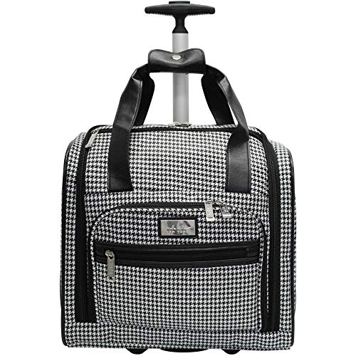 Nicole Miller Underseat Luggage Collection - Small Lightweight 15 Inch Under Seat Bag - Briefcase for Women - Carry On Suitcase with 2- Rolling Spinner Wheels (Black/White Plaid)