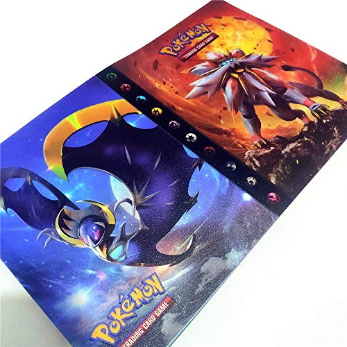 30 Páginas-120 Bolsillos-Contiene 120 tarjetas individuales o 240 tarjetas dobles (espalda con espalda), Álbum para cartas Pokemon, Álbumes de almacenamiento de tarjetas coleccionables (Sun & Moon)