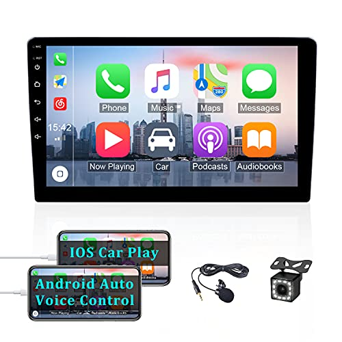 OiLiehu Double Din Autoradio per Apple Car Play, 9 pollici 2.5D HD Touch Screen Support Mirror Link per Android/iOS, Bluetooth FM Radio AUX/SWC Subwoofer + 12 luci Backup Camera