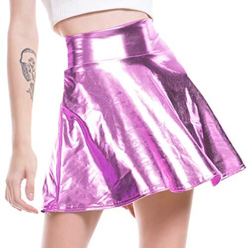 Bailar Línea De Moda Una Falda Clásico Faldas Plisada Acampanadas Enagua Enagua De Imitación De Cuero Retro Bola De La Falda Minifalda Tellerrock
