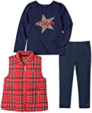 Tommy Hilfiger Baby Girls' 3 Pieces Vest Pants Set, Red/Navy, 18M