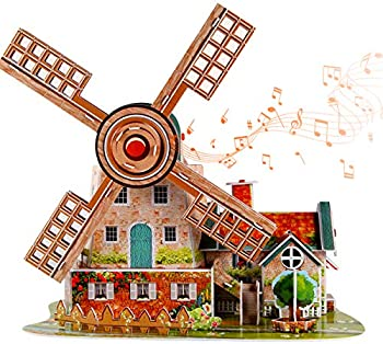 itsfun Holland Windmill 3D Puzzle with Music Box