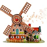 3D Puzzle with Music Box Jigsaw Puzzle for Kids Holland Windmill Toy Brain Teaser Puzzles Family Puzzles Gifts for Toddler Boys and Girls Holiday Birthday Easter Gift