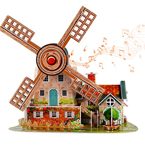 itsfun 3D Puzzle for Kids Jigsaw Puzzle Holland Windmill with Music Box, Brain Teaser Puzzles Family Puzzles Gifts for Boys and Girls (44PCS)