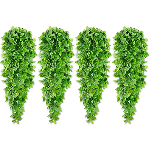 4 Pieces Artificial Ivy Green Vine Fake Ivy Leaves Hanging Decor Fake Vine Leaves Garland Artificial Hanging Plants Leaf Plant Garland Realistic Hanging Plants Decor for Home Garden Decor, 3.6 Feet