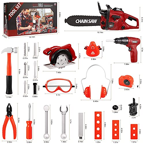 Vextronic 36 PCS Kids Tool Set with Toy Chainsaw Electronic Toy Drill with Sound and Light, Pretend Play Kids Tool Box Construction Toy, Great Toy Tool Set for Toddlers Boys Girls Ages 3+