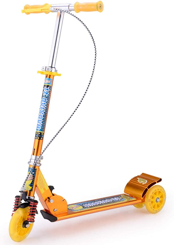 XUEYING-KickScooter Alle Aluminium Handbremse Flash Roller Kinder DREI Runden Riesenrad Doppelbremse Groe Schock Roller Spielzeug (Farbe   Orange)