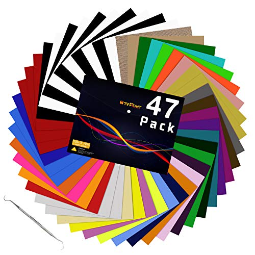 """HTV Heat Transfer Vinyl Bundle: 47 Pack 12"""" x 10"""" Iron on Vinyl for T-Shirt, 33 Assorted Colors with HTV Accessories Tweezers for Cricut, Silhouette Cameo or Heat Press Machine"""