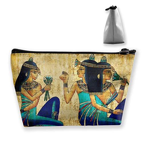 Bolsa de Maquillaje de Mural Egipcio Vintage, Bolsa de Viaje de Almacenamiento Trapezoidal Grande, Bolsa de cosméticos para Lavar, portalápices, Cremallera, Impermeable